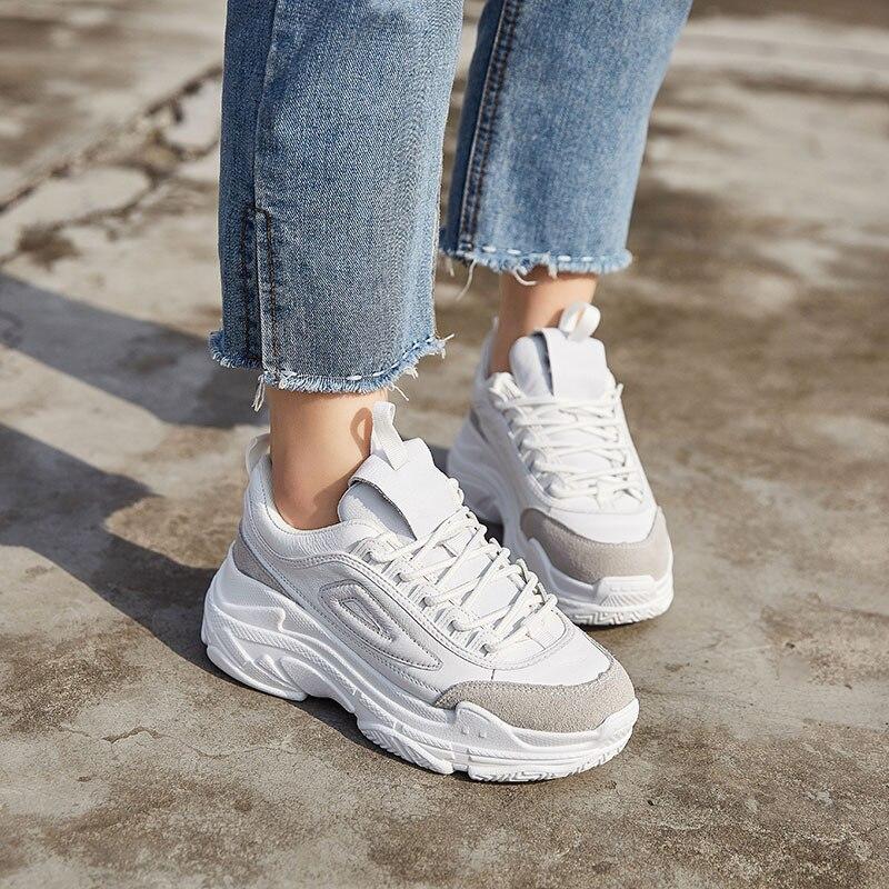 Femmes Cuir 2019 Respirant Nouveau Croix Sneakers Beige Chaussure Chaussures En Plate Automne Dame Adulte Réel Blanc Fille forme attaché TTIn0Fqr