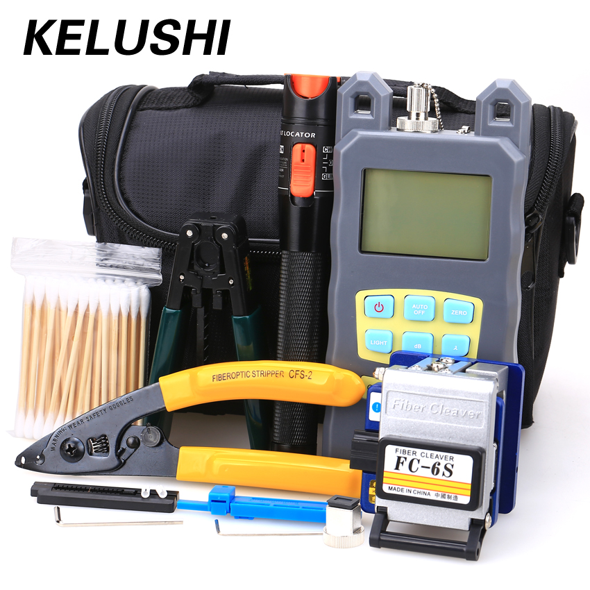 KELUSHI 19 in 1 Fiber Optic FTTH Tool Kit with FC SC Connector + Red Laser Fiber Optic Cable Tester Visual Fault locator