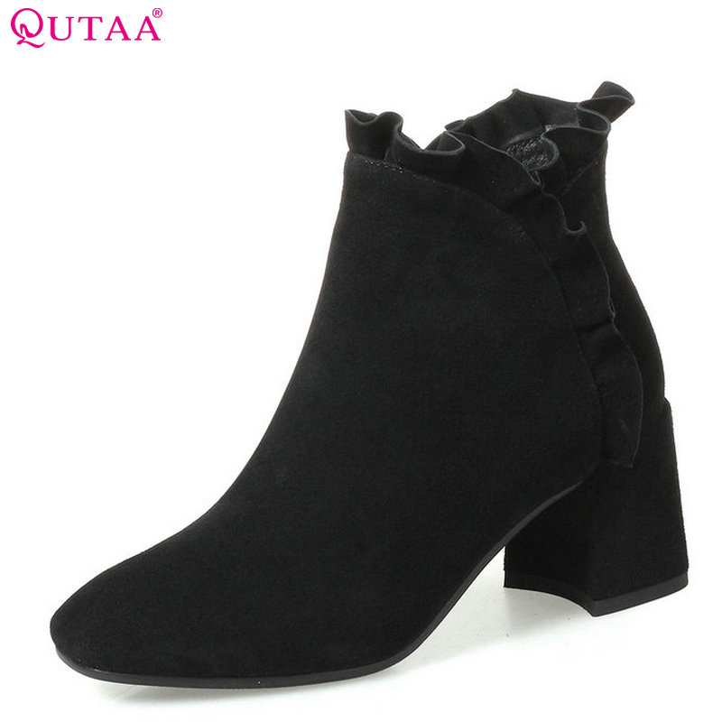 цена на QUTAA 2018 Women Ankle Boots Turned-over Zipper Square High Heel Round Toe All Match Westrn Style Women  Boots Size 34-42