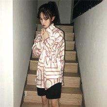 da4a433e130a7 plus size fashion Women s Clothing autumn New ulzzang Korean tops hipster  Harajuku loose personality striped BF