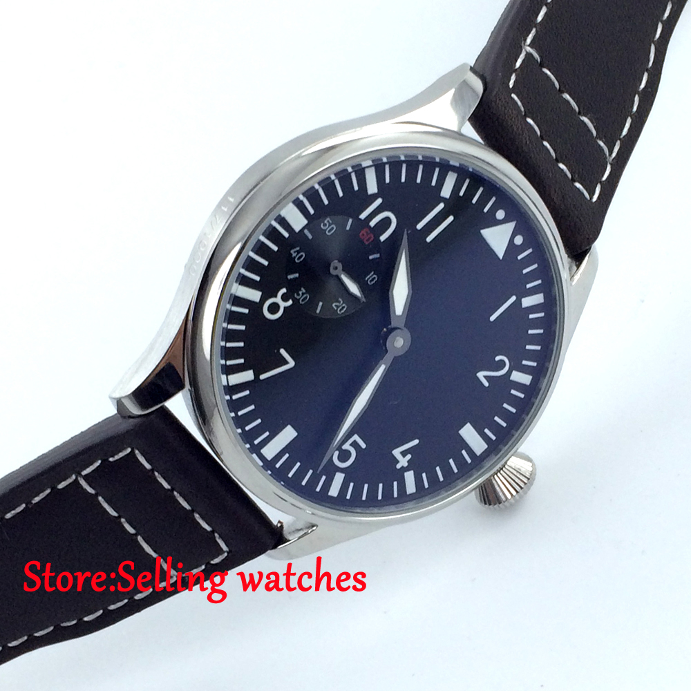 Parnis Black Dial 44mm polished stainless steel case Hand Winding men Watch