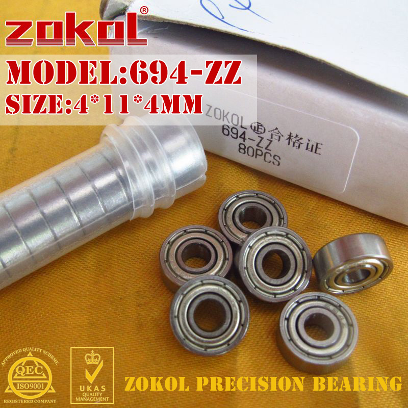 ZOKOL 694 ZZ Z Bearing 694ZZ 694z Z1 Miniature  Deep Groove Ball Bearing 4*11*4mm