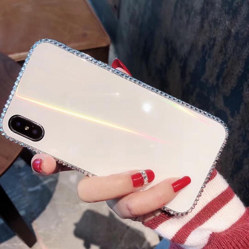 Tfshining Luxury Laser Aurora Glass Case For iphone XR XS Max X 8 7 Plus 6 6s Plus Gradient Rainbow Diamond Bling Hard Cover Bag (2)