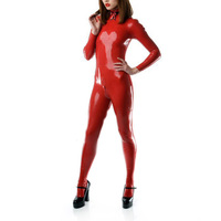 0.4mm Thickness Red Latex Catsuit Socks Shoulder Zipped Latex Bodysuit With Crotch Zip Women Latex Exotic Apparel