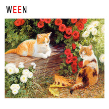 WEEN Cat Lying Diy Painting By Numbers Animal Jungle Oil On Canvas Flower Cuadros Decoracion Acrylic Wall Art Home Gift