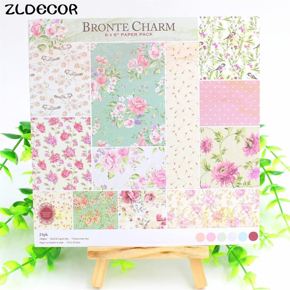 Scrapbook paper books - Zldecor 12sheets Lot 6 Single Printed Floral Pattern Creative Papercraft Art Paper Handmade Scrapbooking Kit Set Books