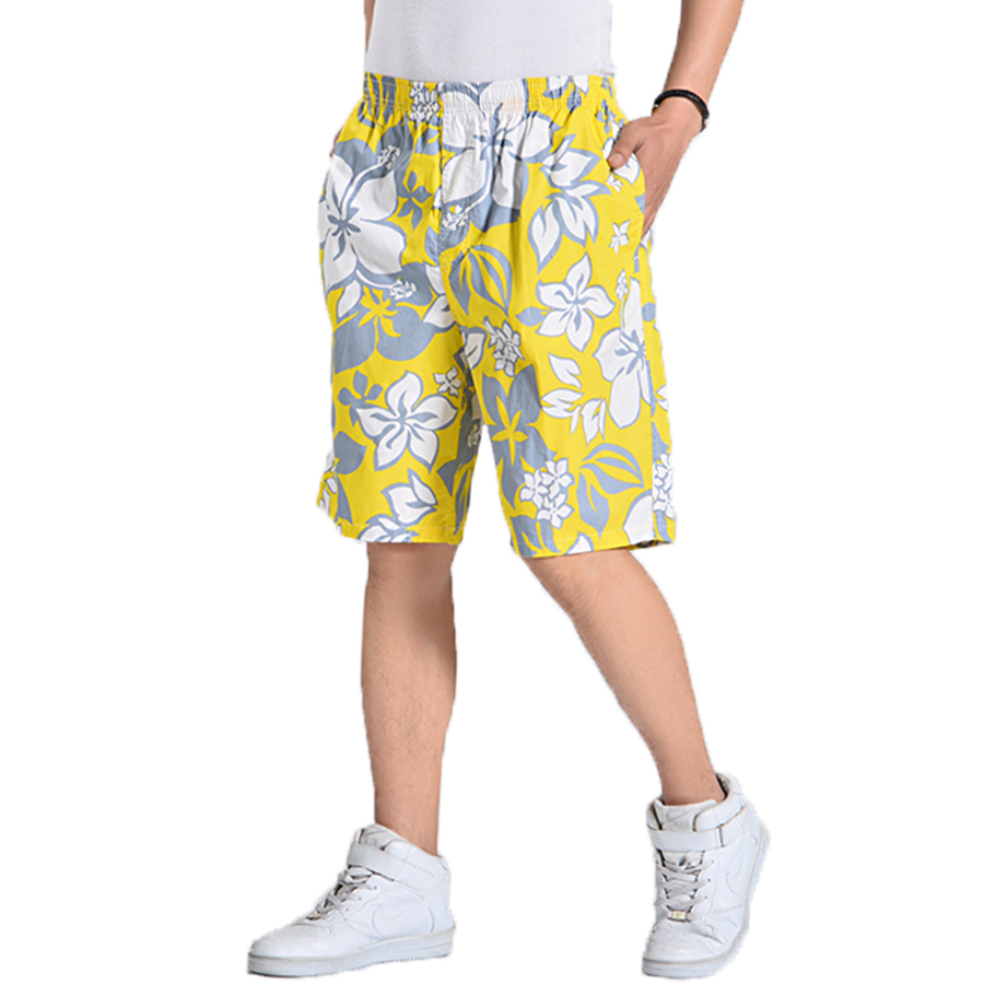 Floral Print Shorts Men Elastic Waist Beach Board Plus Size Man Swimwear Short Masculino Praia  Activewear Mens Shorts Sea 6d020