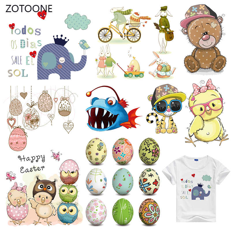 ZOTOONE Stripes Patches Iron on Transfer Cute Animal Dog Patches for T-shirts Girl Kid Clothing DIY Thermo Stickers on Clothes G