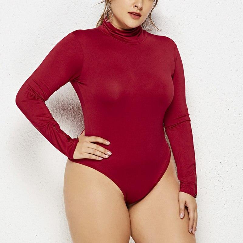 2019 Frauen Sexy Fett Mm Bodycon Hohe Kragen Overall Große Größen Große Body Feminino Mujer Stretchy Strampler Plus Größe Overalls