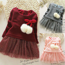 Fancy Baby Girls Knit Sweater Tops Lace Tulle Tutu Bow Party Summer Dresses Clothing Sets wholesale Free Shipping