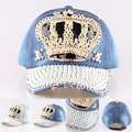 2015 New High quality Crown Point drill pearl cowboy denim women baseball cap men Hat rhinestone print Diamond Point Wholesale