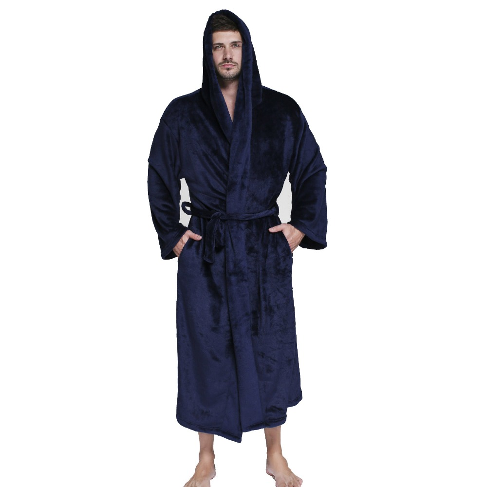 Occident Designer Obese Flannel Robe Male With Hooded Thick Unisex Dressing  Gown Men Bathrobe Winter Long d9866dc2d