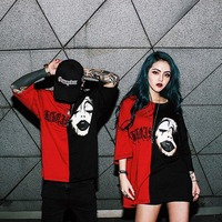 Red Black Fight Patch Color Oversize T Shirts Men Joker Printed Knitted Tees Shirts High Quality
