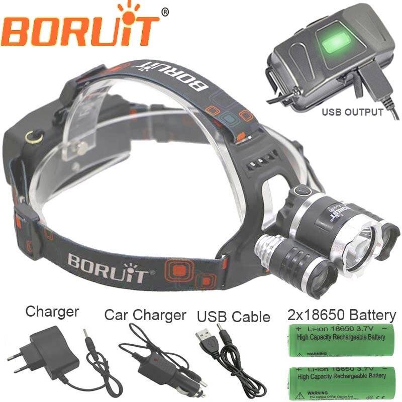 Boruit RJ5000 USB LED Phare étanche Phare CREE U2 3Led 8000LM Rechargeable 18650 tête lampe lumières Batterie Chargeur