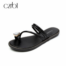 CZRBT New 2018 Concise Crystal Slippers Women Summer Beach Shoes Flats Sandals Handmade Fashion Comfortable Outside Shoes