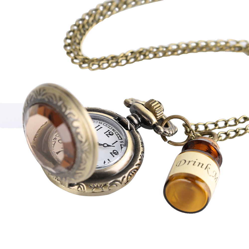 Small Pocket Watch Alice in Wonderland Dark Glass Drink Me Pendant with Bottle Birthday Gift Wome Girl Watches Reloj De BolsilloSmall Pocket Watch Alice in Wonderland Dark Glass Drink Me Pendant with Bottle Birthday Gift Wome Girl Watches Reloj De Bolsillo