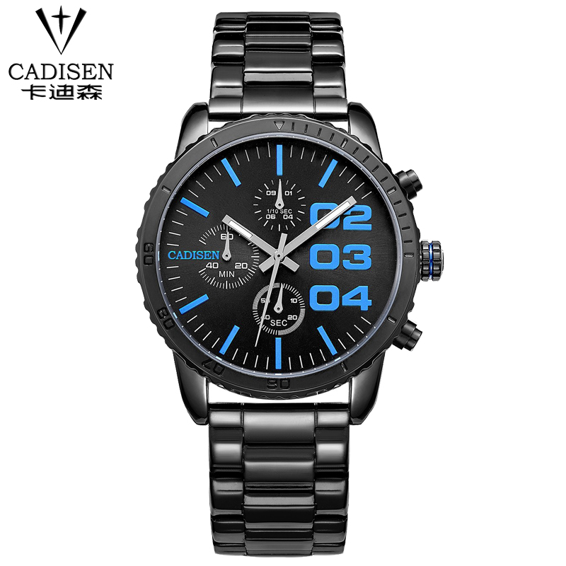 Fashion simple stylish Top Luxury brand CADISEN Watches men Stainless Steel strap Quartz-watch thin Dial Clock man 2016 fashion watch top brand oktime luxury watches men stainless steel strap quartz watch ultra thin dial clock man relogio masculino
