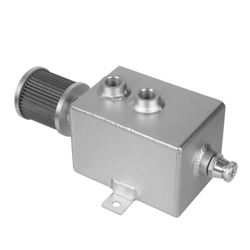1 pcs aluminium 2L bouchon d'huile peut réservoir réservoir avec filtre de reniflard + robinet de vidange Auto pièces de rechange réservoirs de carburant de haute qualité