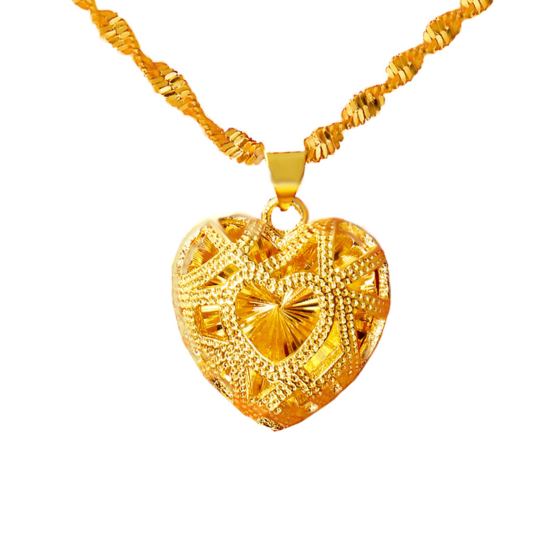 Heart Shape Pendant Necklace for Women Fashion Design 24K Dubai Gold Jewelry Wedding Anniversary Commemorate Jewelry