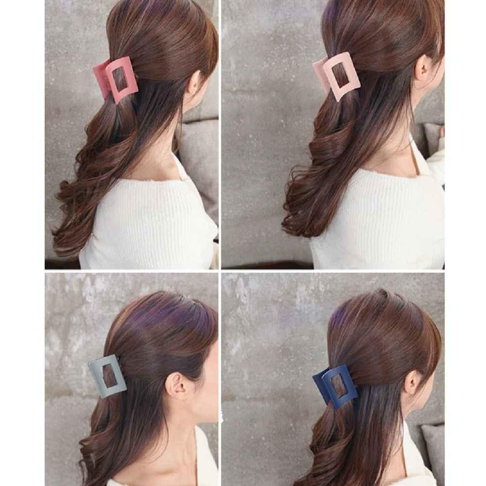 المرأة بلون كبير الحجم مستطيل الاكريليك مشبك شعر متعددة الهندسة الملونة الشعر كراب مخلب شعر للفتيات أغطية الرأس