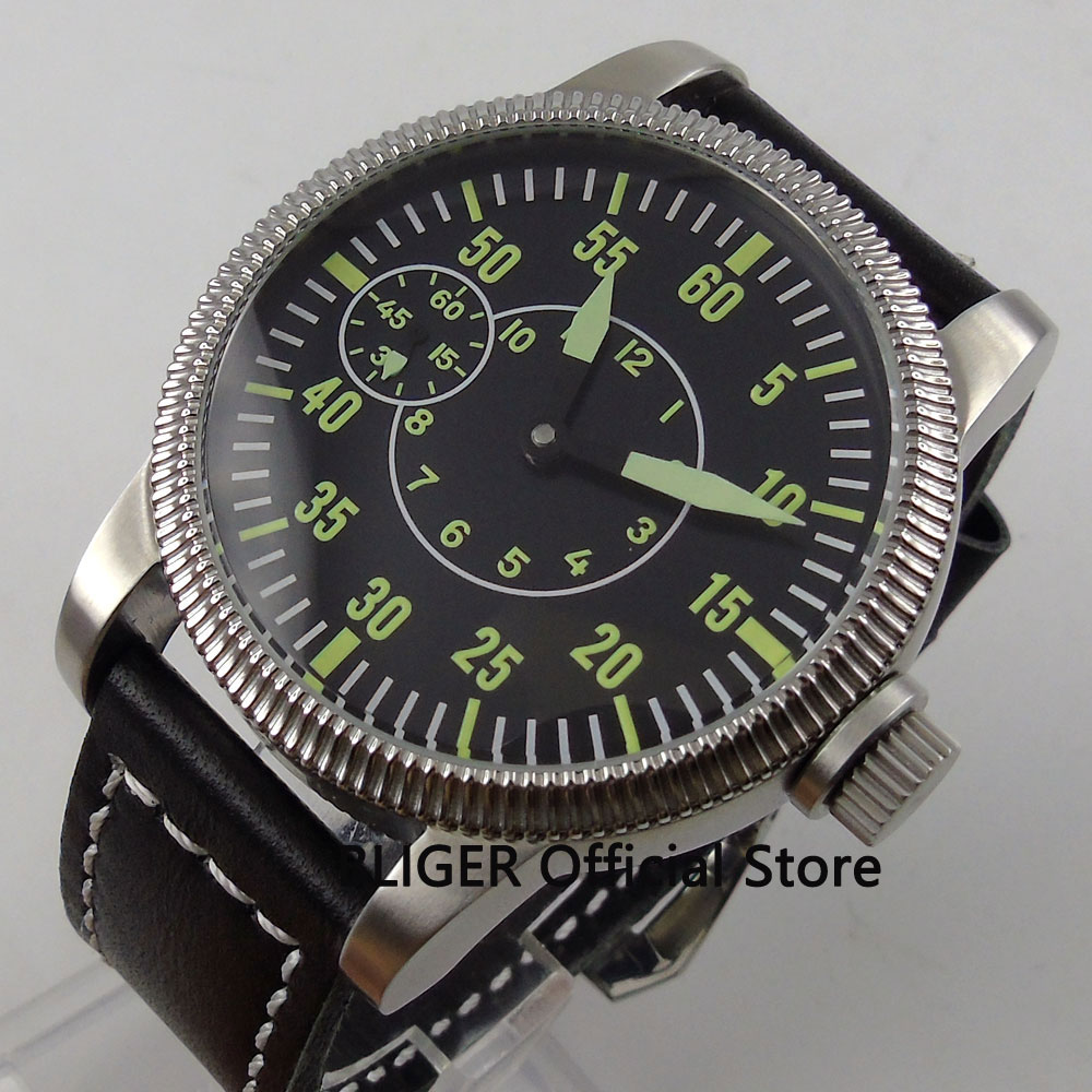 Classic 46MM Black Sterile Big Face Green Luminous Marks Silver Case 17 Jewels 6497 Hand Winding Mechanical Men's Wrist Watch 44mm black sterile dial green marks relojes 6497 mens mechanical hand winding watch luminous armbanduhr cm164bk