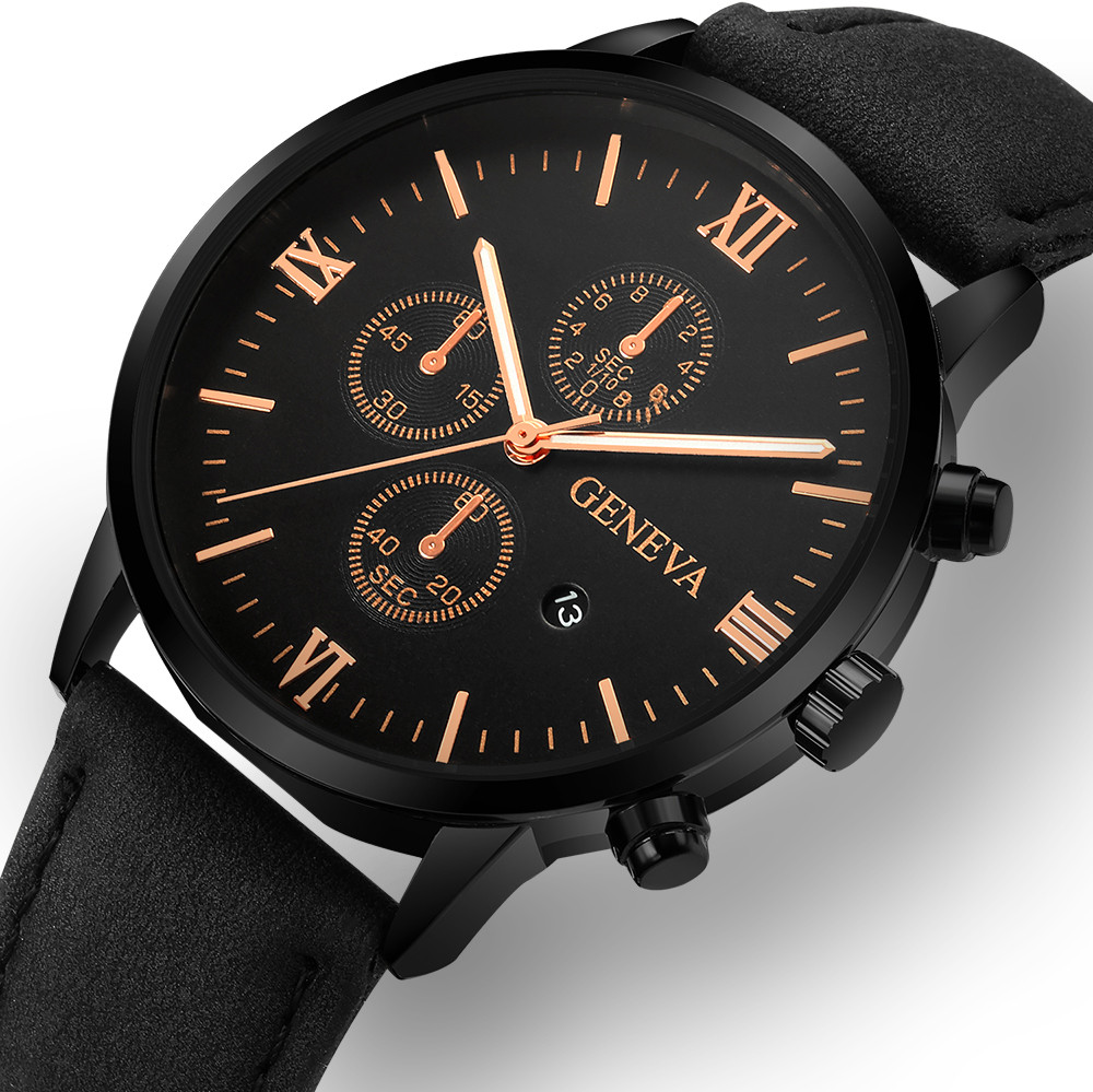 Watches 2019 Montre Homme Geneva Fashion Men Date Alloy Case Synthetic Leather Reloj Hombre Quartz Sport Watch Clock Relogio Masculino Quartz Watches
