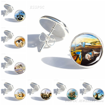 Salvador Dali Painting Simple Style Stud Earrings Women Fashion Silver Glass Cabochon Earing DIY Paintings Art Jewelry Gifts