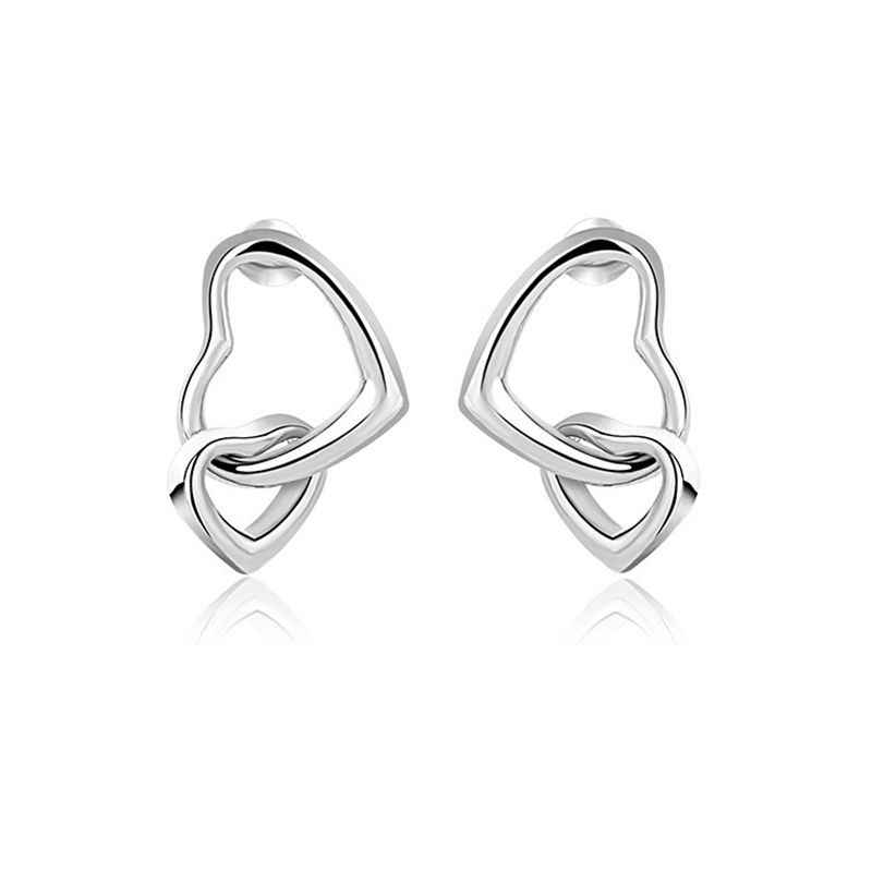 MIGGA boucles d'oreilles à Double cœur en métal, délicat et brillant, couleur or Rose, bijoux