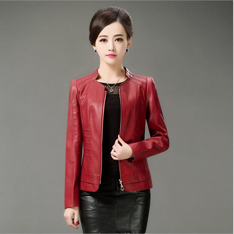 Big Size L 5XL ladies high quality leather jackets 2017 spring new women Motorcycle black leather jackets Womens Outerwear red