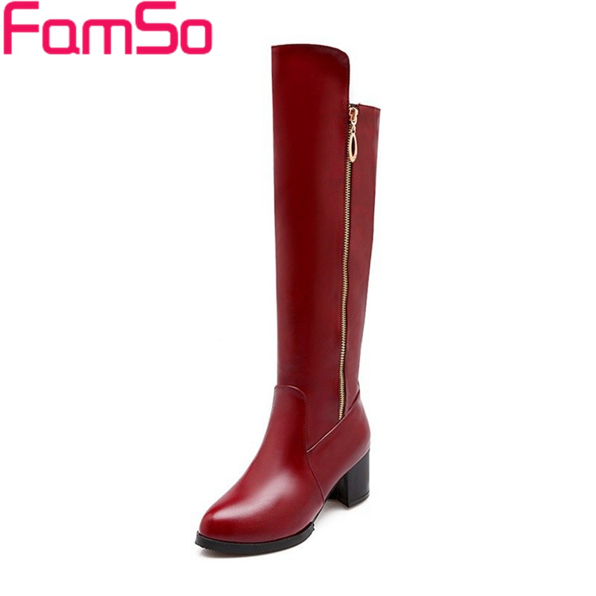 ФОТО Big Size34-47 2017 New Sexy Women Long Knee High Boots black red High Heels Pointed Toe Pumps Winter Warm Snow boots ZWB2020
