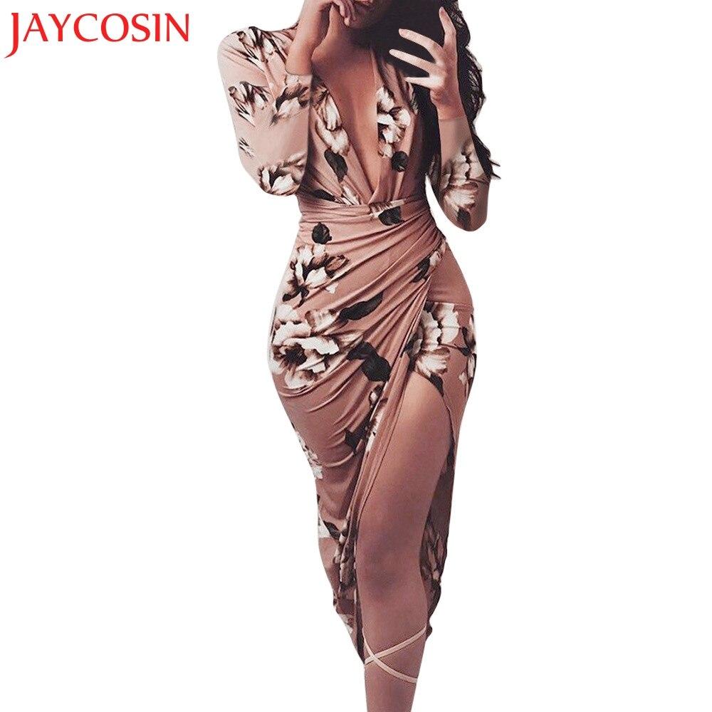 JAYCOSIN Vestido Das Mulheres Com Decote Em V Outono Inverno Casual Floral Imprimir Manga Comprida Bodycon Club Party Vestidos de 15 Freeshipping Dropship p