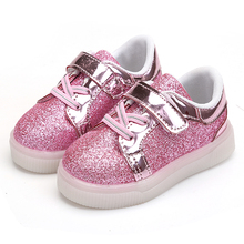 Retail 2017 new shoes size led lamp baby boys and girls sports shoes, casual shoes 21-25 fashion sequins