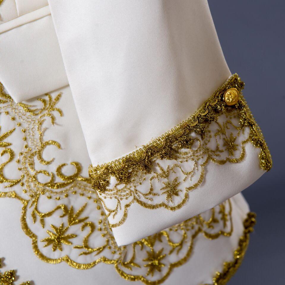 PYJTRL S-XXL hommes classique trois pièces broderie palais scène chanteur costumes de mariage dernier manteau pantalon conceptions Costume Homme - 4