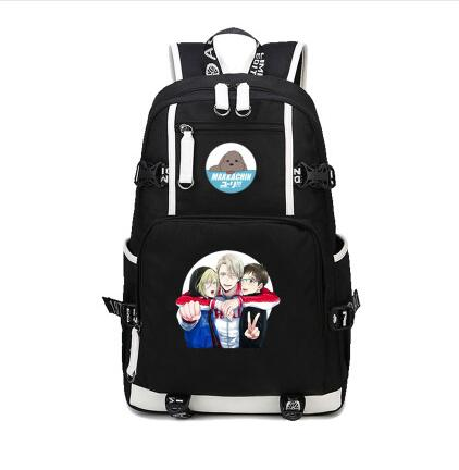 Yuri On Ice Backpack Cartoon Japan Anime Victor Nikiforov Yuri Plisetsky Cosplay Shoulder <font><b>Bag</b></font> Rucksack <font><b>Mochila</b></font> <font><b>Escolar</b></font> image