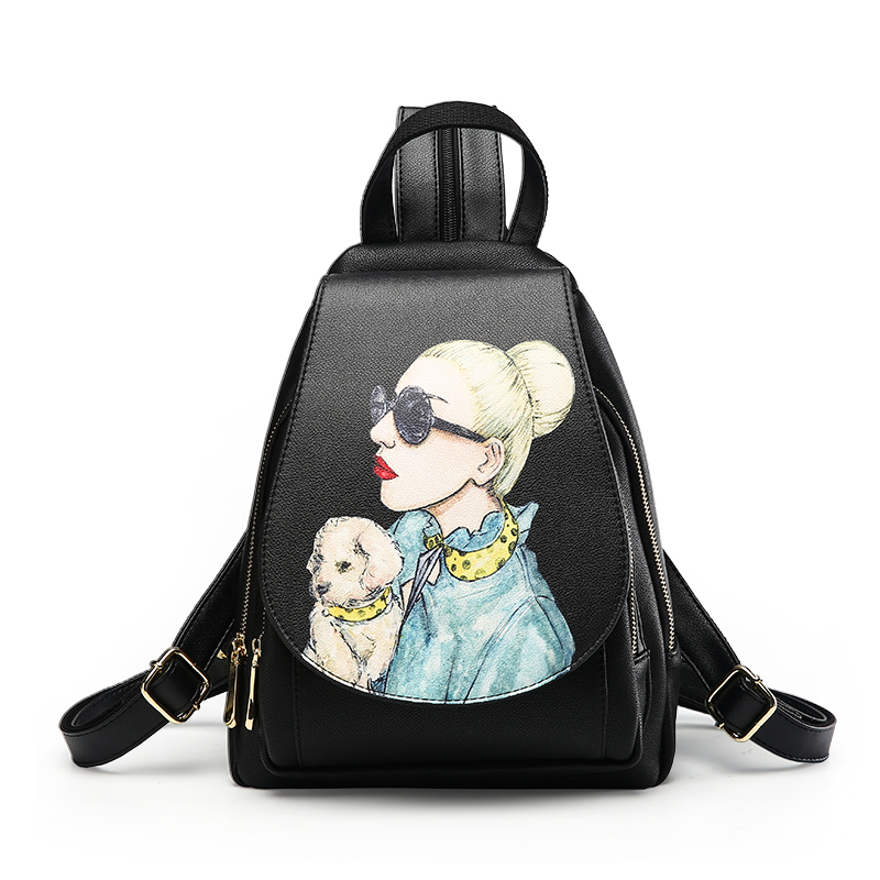 Women Backpack Hot Sale Printing Dog And Girl Fashion Causal Bags Quality Female Shoulder bag PU Leather Backpacks Girls 1552-9 1pc hight quality hot fashion unisex emoji backpacks 3d printing bags drawstring backpack nov 10