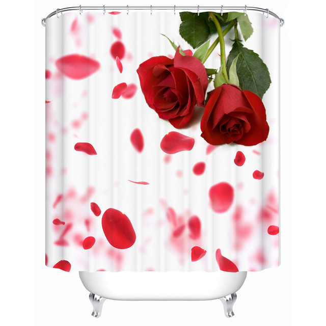 High Quality Bathroom Products Shower Curtains Curtain Waterproof Screen Bright Red Roses MG 052