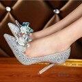 Rhinestone Nueva Sexy Floral Para Mujer zapatos de las Bombas Individuales Vestido de Cenicienta de La Boda Stilletos Zapatos Para Las Mujeres Del Dedo Del Pie Puntiagudo zapatos de Tacón Alto