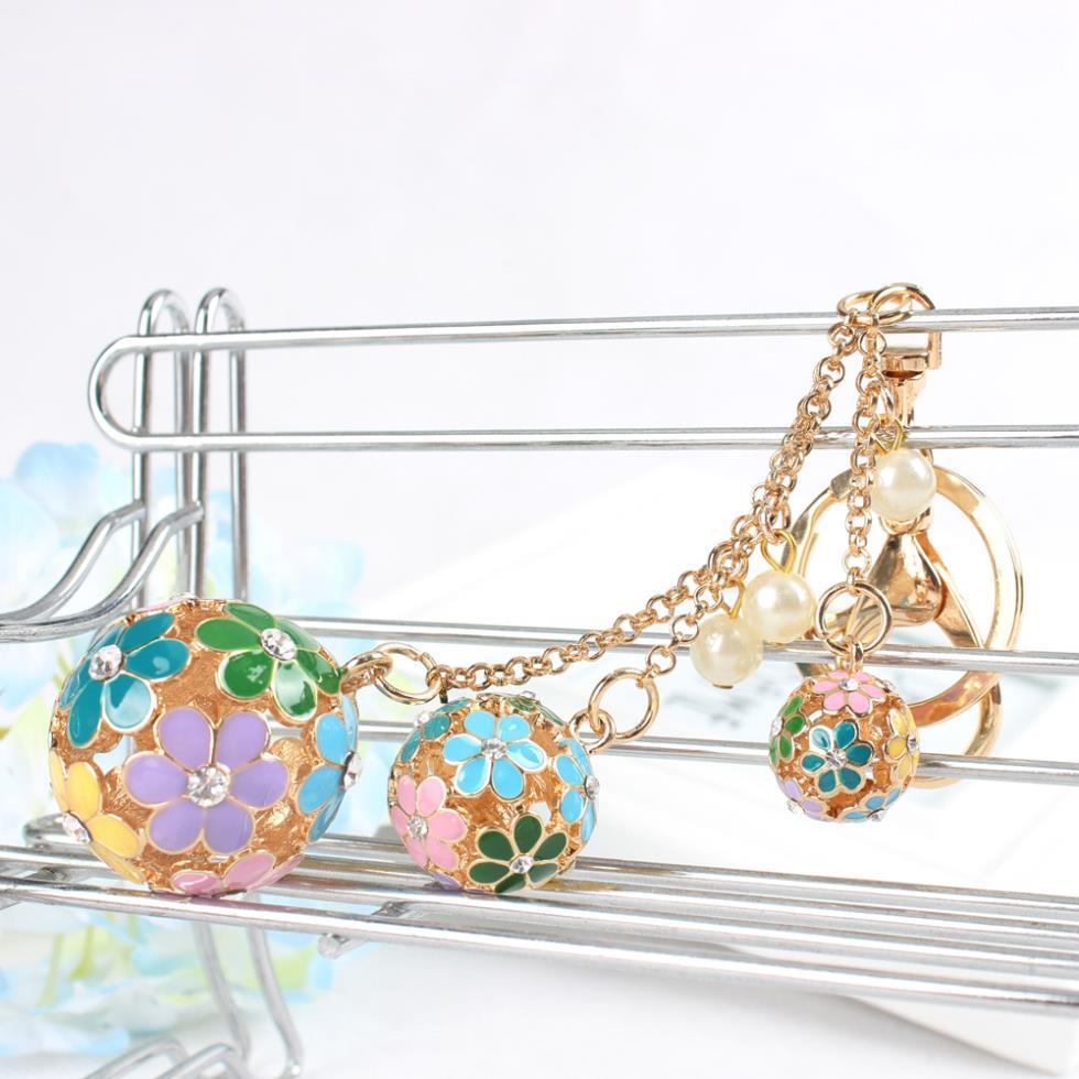 Hollow Ball Pearl Multi-colors Flowers Crystal Rhinestone Charm Pendant Purse Bag Car Key Ring Chain Creative Wedding Party Gift