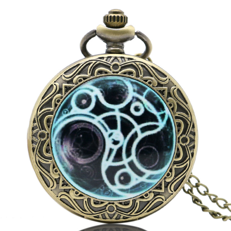 Retro Bronze Doctor Who Design Pocket Watch With Chain Necklace Free Shipping Best Xmas Chritmas Gift bronze quartz pocket watch old antique superman design high quality with necklace chain for gift item free shipping
