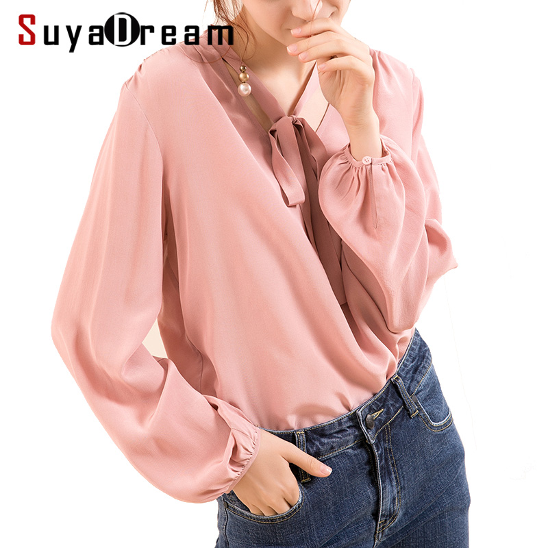 Women Silk blouse 100% REAL silk crepe Long sleeved Office Lady Printed blouse shirt 2019 Spring new top Pink