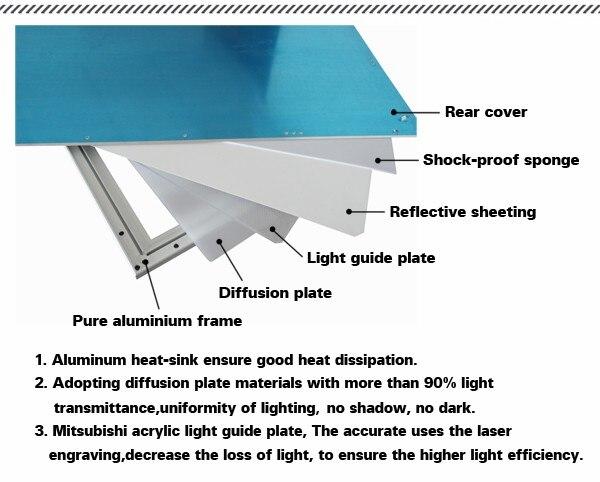 600x600mm led painel de luz alto brilho