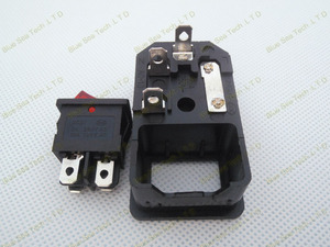 Image 3 - Free Shipping 10pcs switch socket with light Red,AC power socket Plug 4Pin 10A 250V with Fuse Block + 10A Fuse