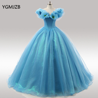 Blue Quinceanera Dresses 2018 Prom Gown Ball Gown Off Shoulder Vestidos De 15 Anos Sweet 16 Dress Debutante Gowns