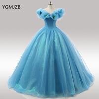 Blue Quinceanera Dresses 2018 Prom Gown Ball Gown Off Shoulder Vestidos De 15 Anos Sweet 16 Dress Debutante Gowns