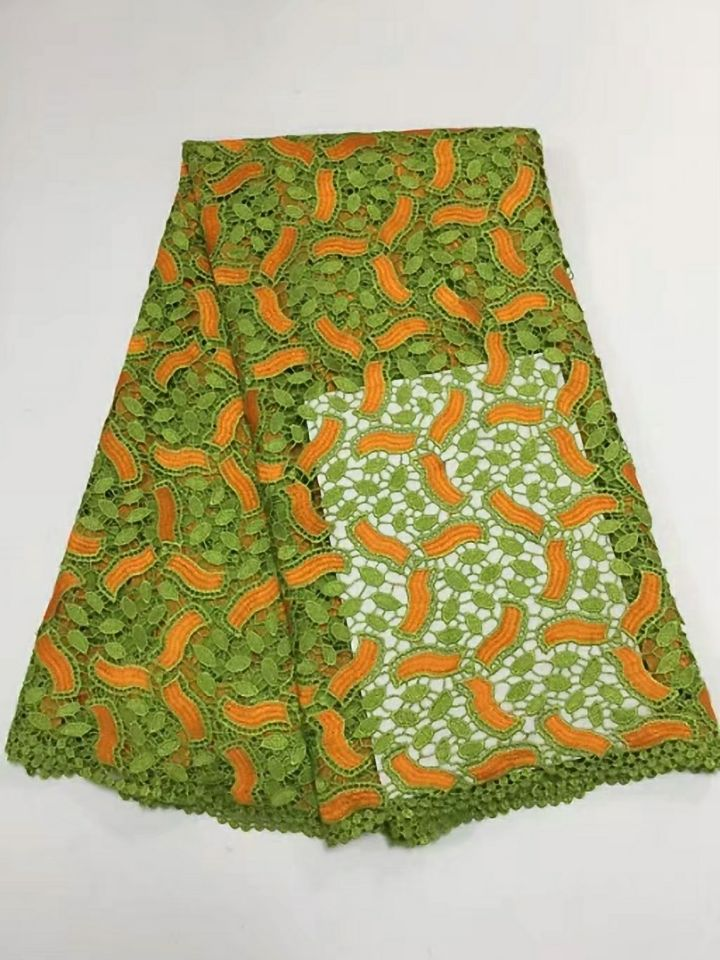 5 Yards/pc High Quality Green African Water Soluble Lace And Orange Embroidery French Cord Lace Fabric For Clothes Bw147-1 Buy Now Lace