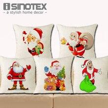 18*18'' Cushion Cover Christmas Home Decor Cute Santa Claus Linen Throw Pillowcase Merry Christmas Gift New Year Gifts X'mas