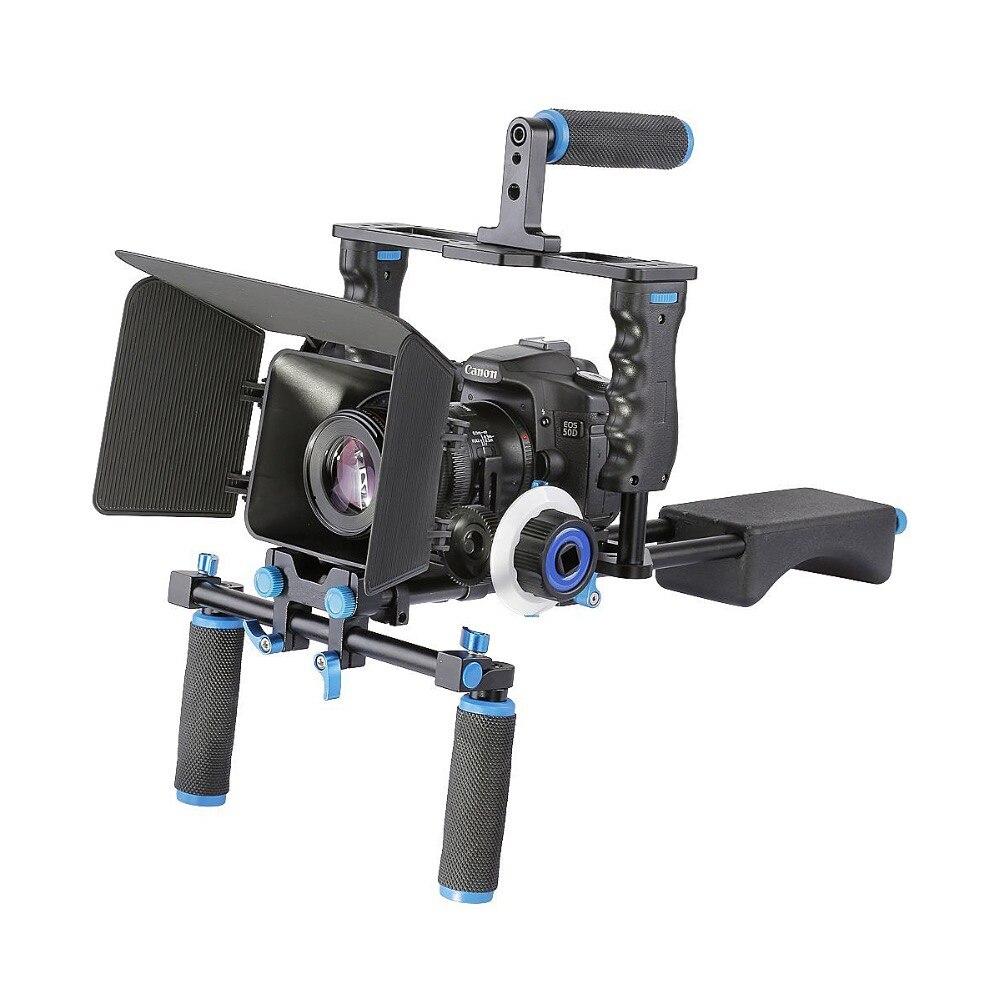 YELANGU D221 Épaule Dslr Rig Cage Kit avec Matte Box Follow Focus pour Tous Les DSLR Petites Caméras DV