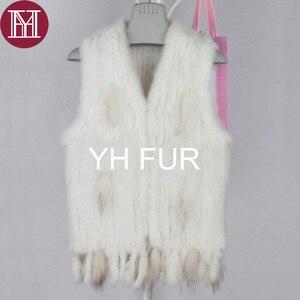 Image 5 - Winter women real rabbit fur vest with tassel lady knit 100% real rabbit fur jacket sleeveless coat 2018 new fashion