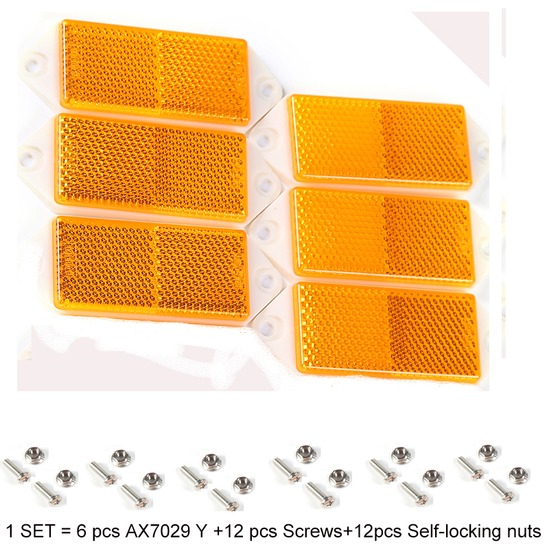 6 Pcs Aohewe Amber Rectangular Reflector With Screw Ece Approval Reflect Strip For Trailer Truck Lorry Bus Rv Caravan Bike