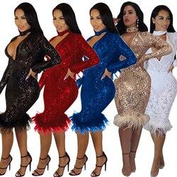 Moda czarny cekin Sukienka kobiety Party suknie Elbise odzież damska Roupa Feminina Sukienka kobieta ubrania z długim rękawem 6
